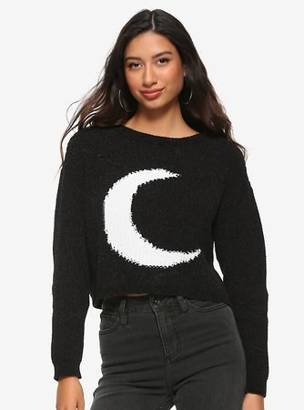Black & White Crescent Moon Girls Crop Sweater
