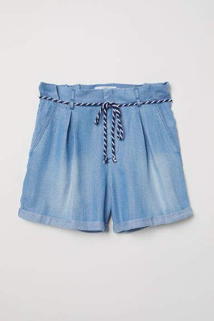 Shorts with Tie Belt - Blue