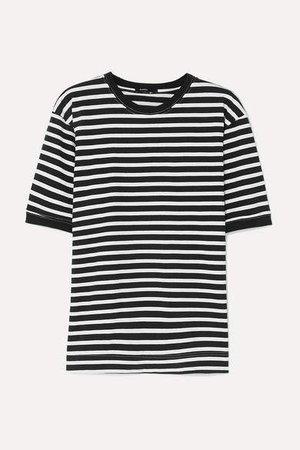 Striped Organic Cotton-jersey T-shirt - Black