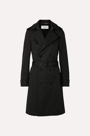 Woven Trench Coat - Black