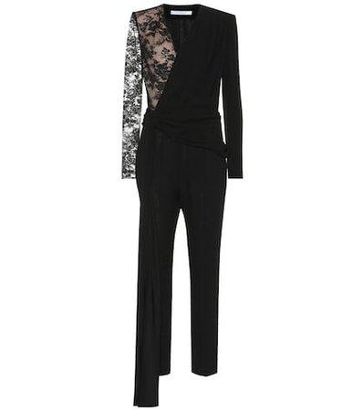 Lace and cotton-blend jumpsuit