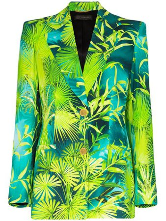 Versace Palm-Print Blazer A86304A234694 Green | Farfetch