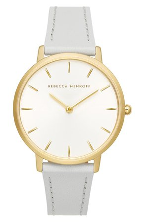 Rebecca Minkoff Major Leather Strap Watch, 35mm | Nordstrom