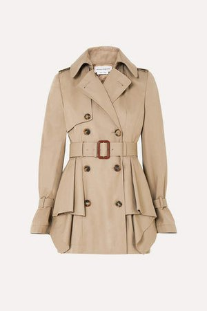 Peplum Cotton-gabardine Trench Coat - Beige