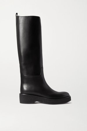 Motorbike Leather Knee Boots - Black