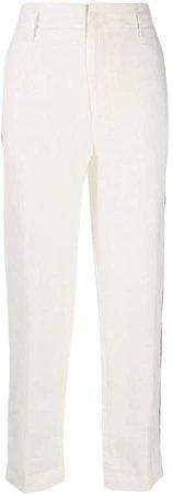 side stripe linen trousers