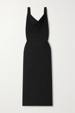 Draped Stretch-crepe Midi Dress - Black