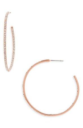 Nordstrom Medium Seamless Pavé Hoop Earrings | Nordstrom