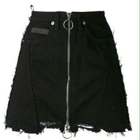 Black Zipper In Front Skirt