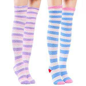 Fuzzy Thigh High Socks Striped