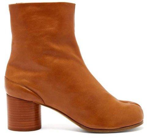 Tabi Split Toe Leather Ankle Boots - Womens - Tan