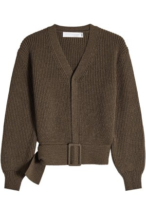 Ribbed Wool Belted Cardigan Gr. 2