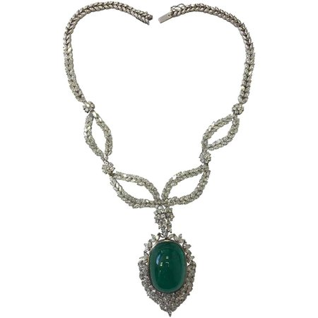 Oval Emerald Cabochon and Diamond Necklace Once Owned By A Princess For Sale at 1stDibs