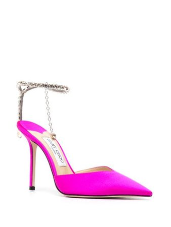 Jimmy Choo crystal-embellished Satin Pumps - Farfetch