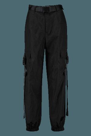 High Waist Shell Cargo Buckle Pants | Boohoo