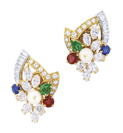 MULTI-GEM AND CULTURED PEARL NECKLACE, EARRING AND RING SUITE, CHAUMET