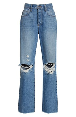 Alice + Olivia Amazing High Waist Ripped Boyfriend Nonstretch Cotton Jeans (Not Yours)   Nordstrom