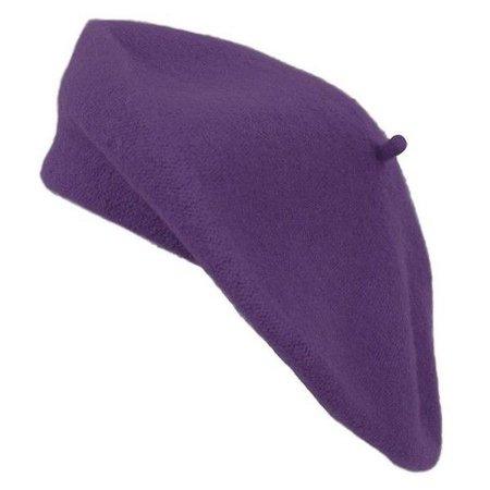 Ladies Solid Colored French Wool Beret (Dark Purple)