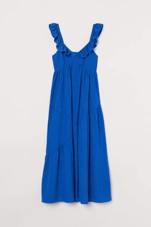 Ruffle-trimmed Dress - Blue