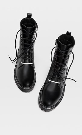 Lace-up flat ankle boots - Women's Just in | Stradivarius United States