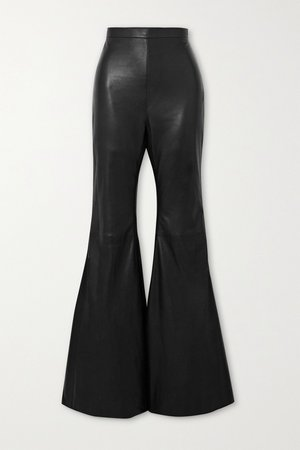 Black Leather flared pants | Balmain | NET-A-PORTER