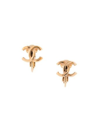 Shop gold Chanel Pre-Owned CC charm earrings with Express Delivery - Farfetch
