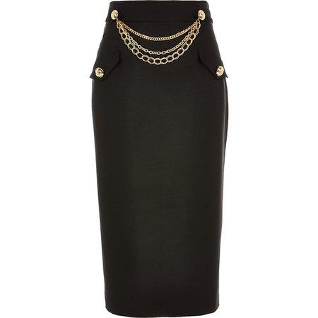 Black chain embellished midi pencil skirt | River Island