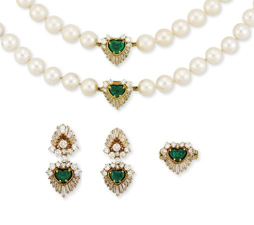 CULTURED PEARL, EMERALD AND DIAMOND SUITE