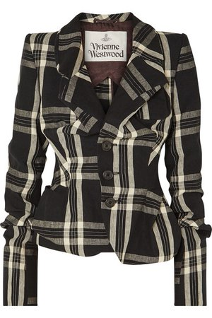 Vivienne Westwood | Gathered tartan linen blazer | NET-A-PORTER.COM