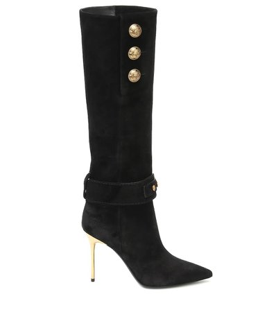 Suede Knee-High Boots - Balmain | Mytheresa