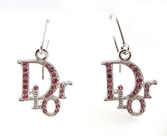 Christian Dior earrings logo rhinestone Pink Silver Dior