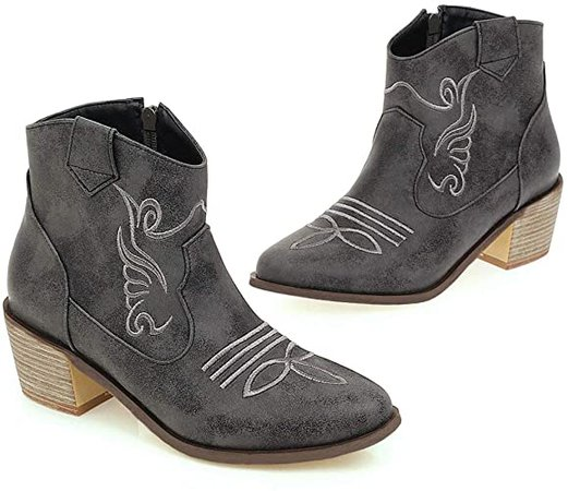 Amazon.com | Parisuit Women's Chunky Mid Heel Cowgirl Booties Embroidery Western Ankle Boots with Side Zipper-Blue Size 4 | Ankle & Bootie