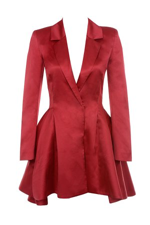 Clothing : Structured Dresses : 'Simoneta' Red Satin Tailored Jacket Dress