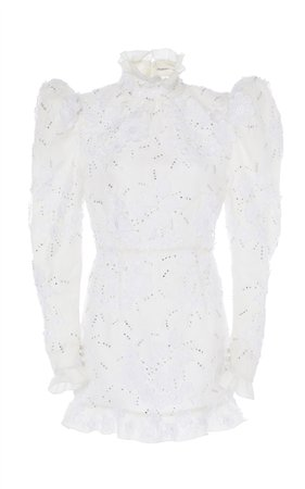 Embroidered Lace Mini Bridal Dress by Alessandra Rich   Moda Operandi