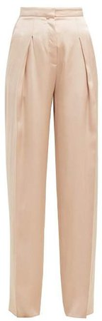 Oliver High Rise Silk Satin Trousers - Womens - Nude