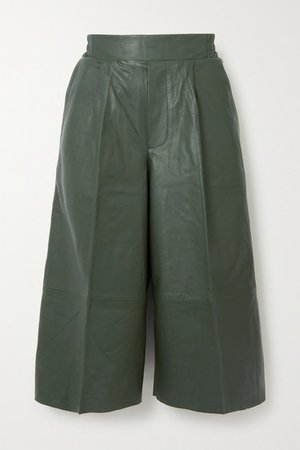 Duchesse Pleated Leather Shorts - Dark green