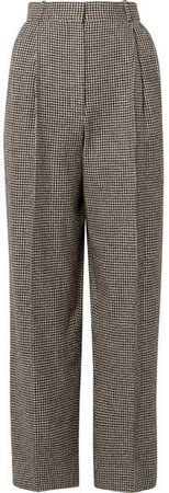 Nica Houndstooth Camel Hair Straight-leg Pants - Black
