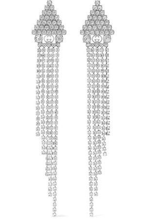 Gucci | Silver-tone crystal earrings | NET-A-PORTER.COM
