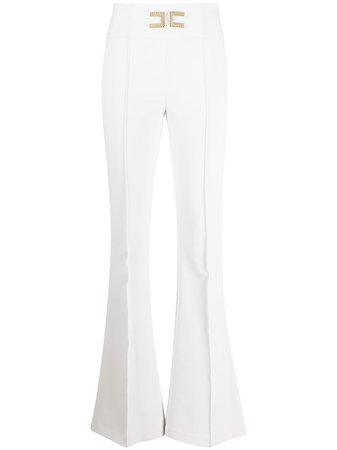 Elisabetta Franchi High Waist Flared Leg Trousers - Farfetch