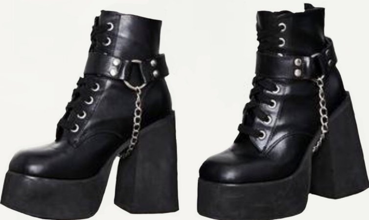 Black Leather Chained Boots