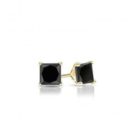 Certified 14k Yellow Gold 4-Prong Martini Princess-Cut Black Diamond Stud Earrings 0.50 ct. tw. - DiamondStuds.com