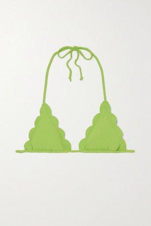 Broadway Reversible Scalloped Triangle Bikini Top - Bright green