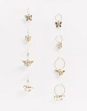 Monki Charmaine butterfly hoop earrings in gold | ASOS