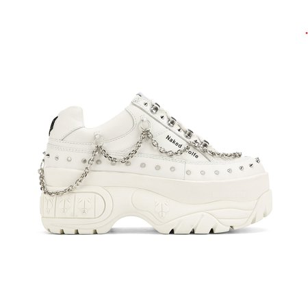 Sporty Stud White Sneakers - Naked Wolfe