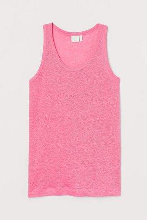 Linen Jersey Tank Top - Pink