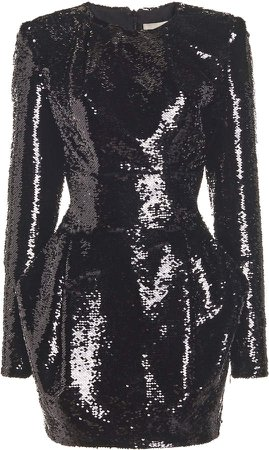 Alexandre Vauthier Sequin Long Sleeve Mini Dress