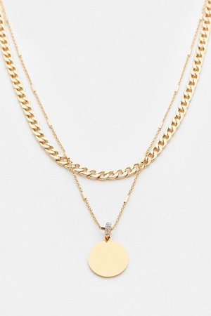 Gold Plated Coin Layered Necklace | Karen Millen