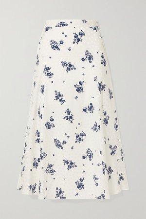 Floral-print Silk-jacquard Midi Skirt - White