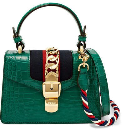 Sylvie Mini Chain-embellished Alligator Shoulder Bag - Emerald