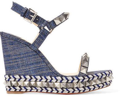 Pyraclou 110 Spiked Lamé Wedge Sandals - Blue